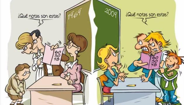 Ilustración sobre cómo ha afectado el paso de los años al trato que se dispensa a los docentes