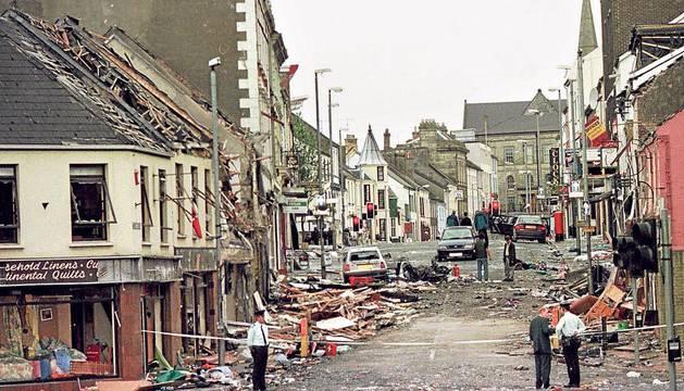 La devastación que dejó el atentado de Omagh el 15 de agosto de 1998.