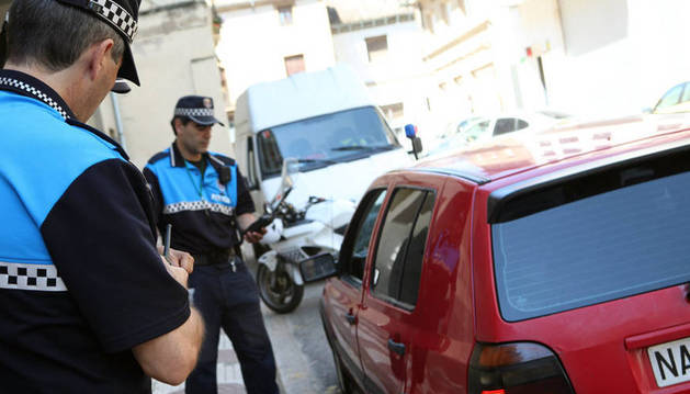 Agentes de la Policía Municipal, en Tudela.