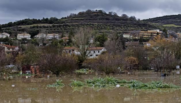 El río Ega desbordado a su paso por el paseo de Valdelobos, una zona cercana a la presa del Batán donde tuvo lugar el suceso.