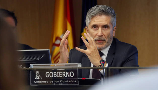 El ministro del Interior, Fernando Grande-Marlaska, durante su comparecencia este miércoles en el Congreso.