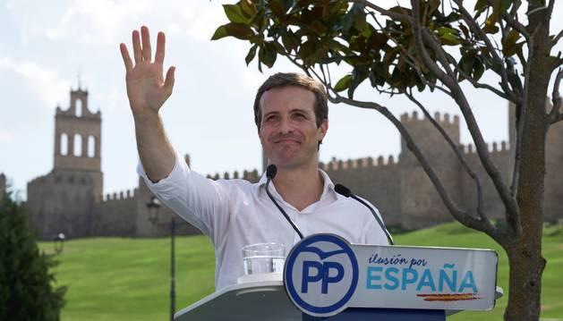 Foto del presidente del PP, Pablo Casado, durante el acto celebrado en Ávila para dar comienzo al curso político.
