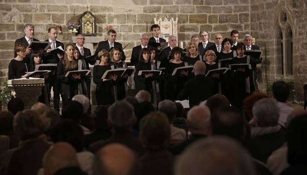 Imagen del concierto de la Coral celebrado a finales de abril de este año, con un repertorio dedicado a compositores sangüesinos.