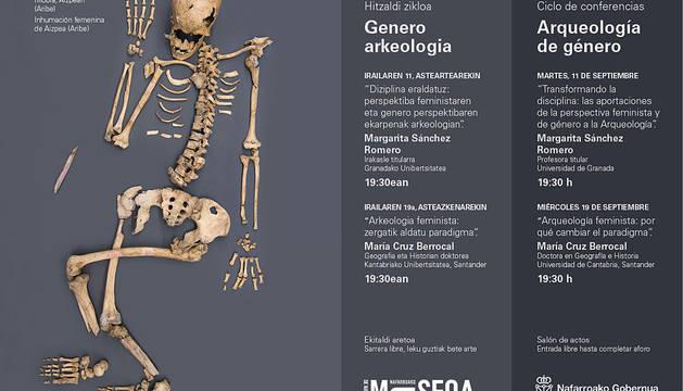 Programa de las jornadas del ciclo Arqueología de Género, con la imagen al enterramiento femenino de Aizpea, en Aribe.