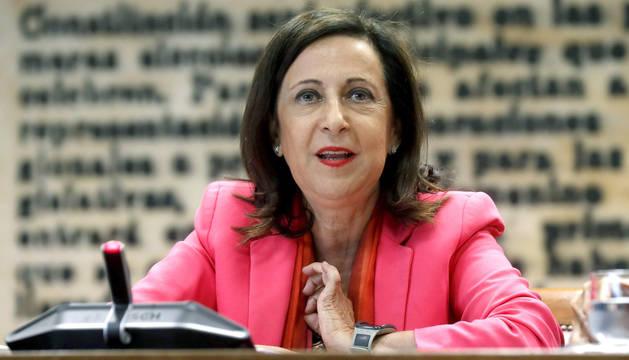 La ministra de Defensa, Margarita Robles, ha comparecido este lunes en la Comisión de Defensa del Senado.