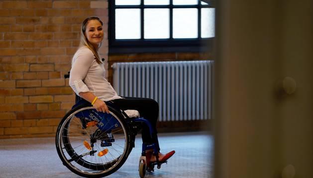 Kristina Vogel en silla de ruedas