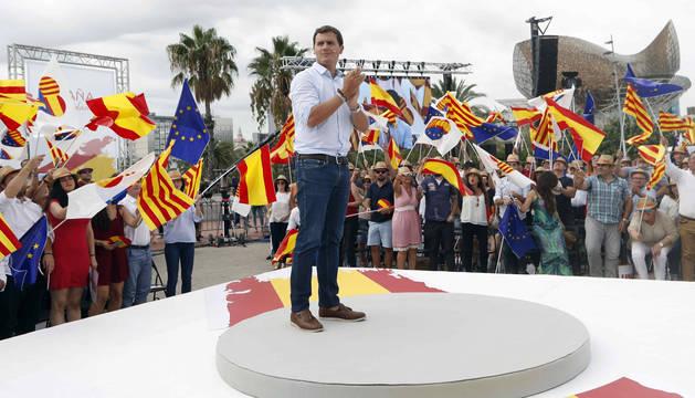 El presidente de Ciudadanos, Albert Rivera, durante su intervención en el acto de la plataforma España Ciudadana en defensa de la