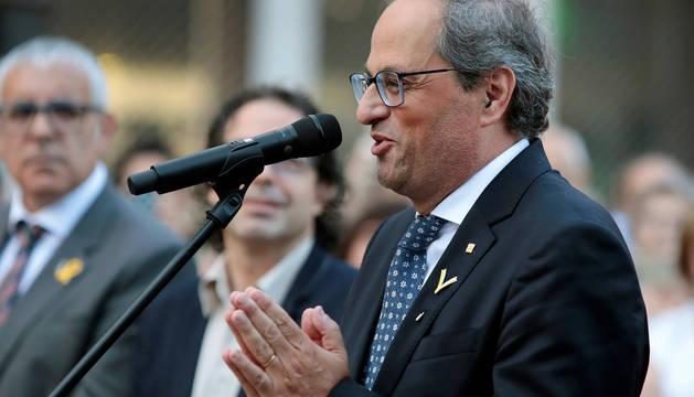 El presidente de la Generalitat, Quim Torra, durante su visita a la localidad barcelonesa de Cardona.
