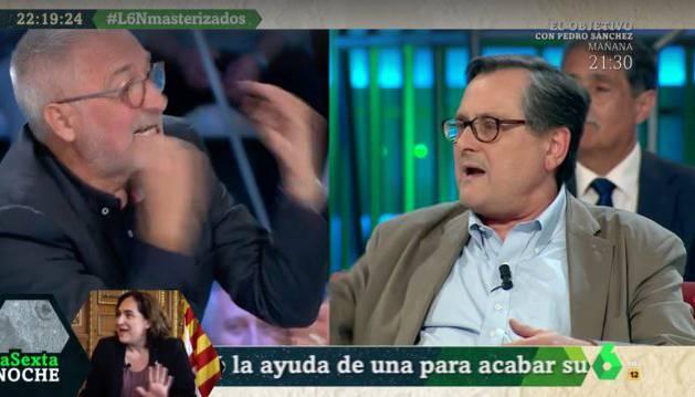 Javier Sardà (izquierda) y Francisco Marhuenda (derecha), durante la discusión este sábado en 'LaSexta Noche'.