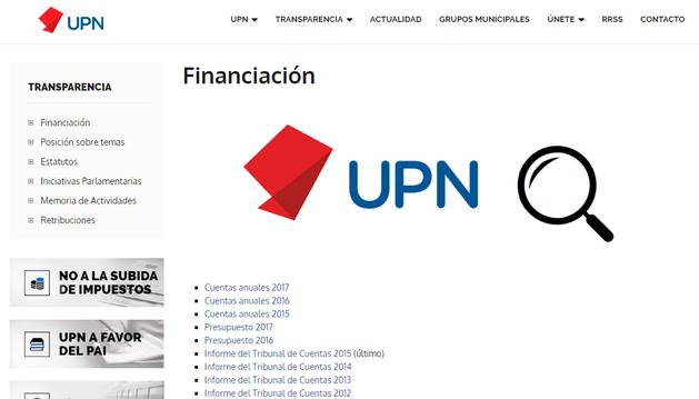 Captura de pantalla de la página web de UPN