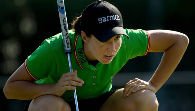 Carlota Ciganda, este jueves, en el Mediterranean Open.