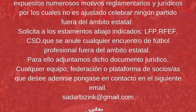 Comunicado de Sadar Bizirik.