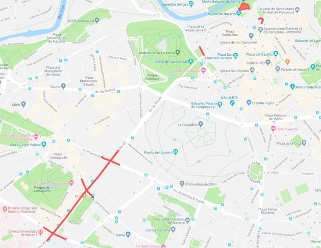 Estos son los cortes de tráfico previstos para este lunes en Pamplona