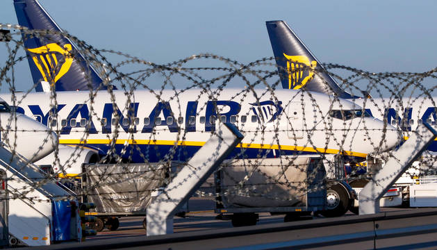 Aviones de Ryanair estacionados en el aeropuerto de Bruselas Sur Charleroi debido a la huelga.