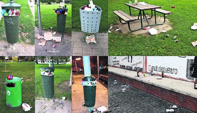 Fotomontaje realizado por el grupo socialista municipal con papeleras a rebosar en distintos barrios de la ciudad.