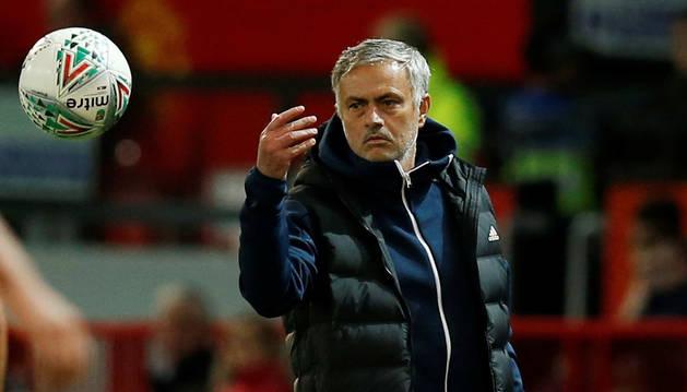 Mourinho durante el partido de Copa ante