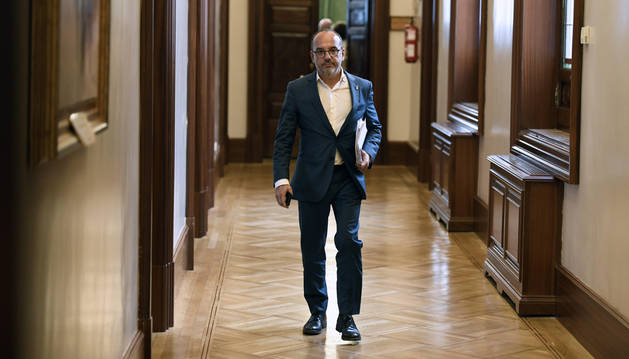 El portavoz del PDeCAT, Carles Campuzano, a la salida de la reunión de la Junta de Portavoces del Congreso de los Diputados este martes.
