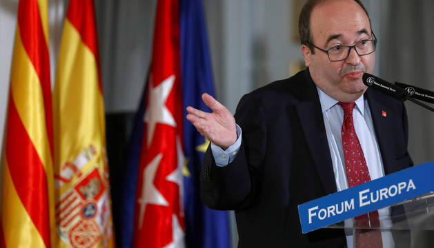 El primer secretario del PSC, Miquel Iceta, durante su intervención en un desayuno informativo del Foro Nueva Economía, en Madrid.