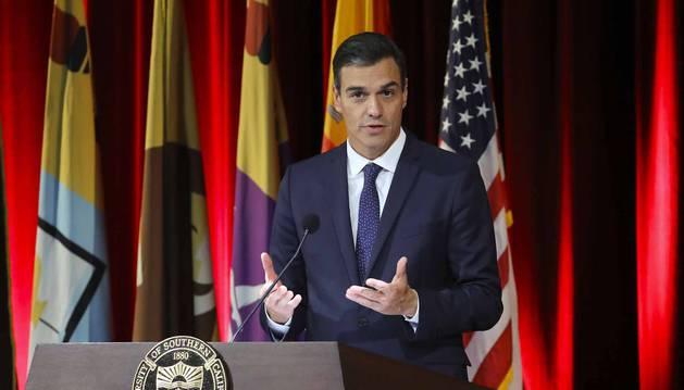 El presidente del Gobierno de España, Pedro Sánchez, interviene en el auditorio de la Universidad del Sur de California, en Los Ángeles
