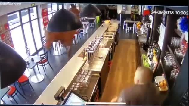 Un caballo se pasea por la barra de un bar en Francia