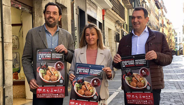 Jordi Vidal  (Gerente Vinos DO Navarra) – Ana Beriain (Presidenta Asociación Hosteleria y Turismo Navarra) – Santiago Enciso (Presidente Cooperativa de Hostelería).