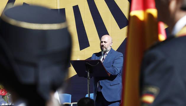 José Luis Arasti durante el discurso pronunciado con motivo de la fiesta del Dïa de los Custodios de la Policía Nacional.