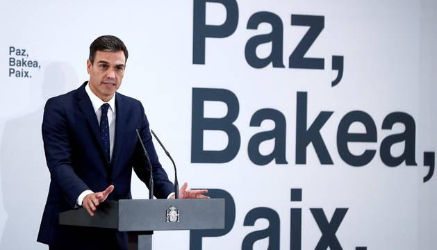 Pedro Sánchez, durante el acto sobre cooperación en la lucha antiterrorista entre España y Francia.