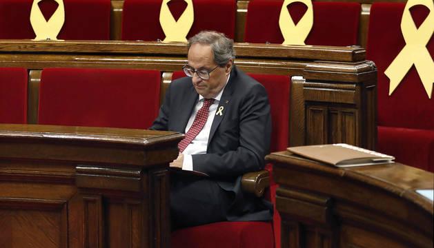 Torra, en el pleno del Parlamento catalán.