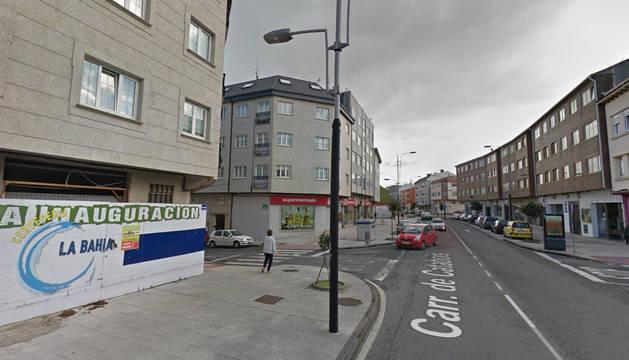 Farola contra la que ha chocado el vehículo en Ferrol.