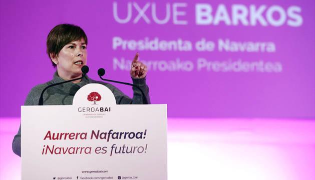 Uxue Barkos, durante su intervención en el acto de presentación de candidaturas de Geroa Bai.