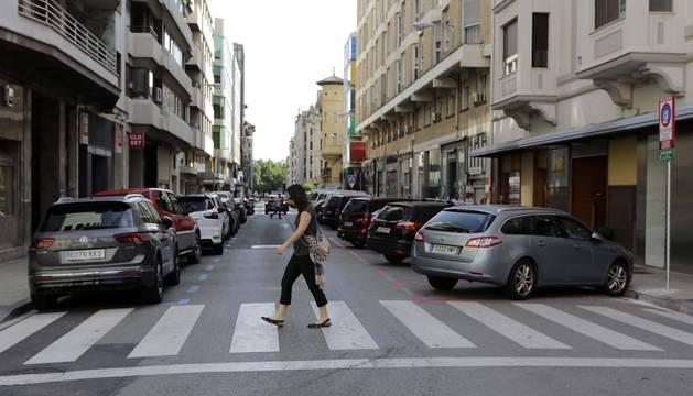 Zona de estacionamiento regulado en el Ensanche de Pamplona.