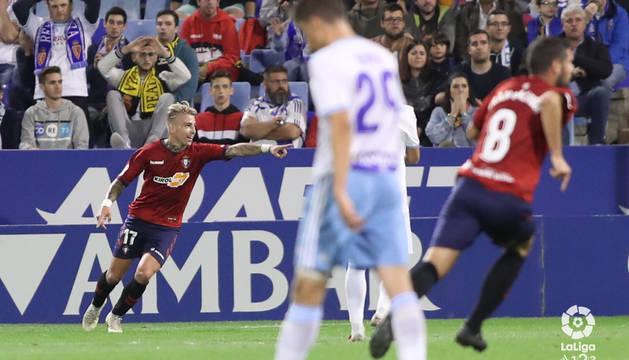 Brandon celebra el gol al Zaragoza.