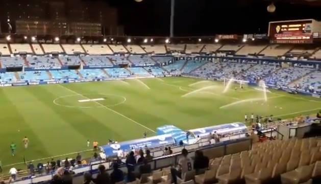 La Romareda, minutos antes del comienzo del partido.