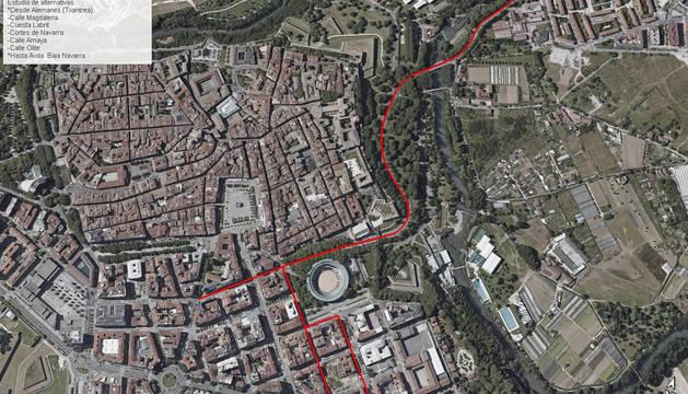Marcada en rojo, la zona del futuro correodor sostenible entre Alemanes y el Ensanche.