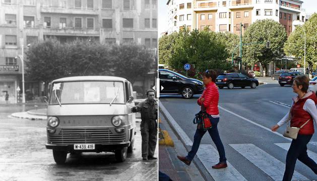 Dos imágenes de la plaza Príncipe de Viana, una de 1965 y otra de la actualidad.