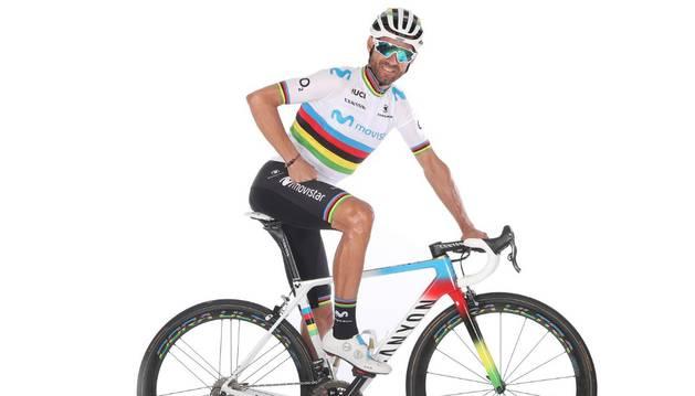 Valverde, con su atuendo de Campeón del Mundo