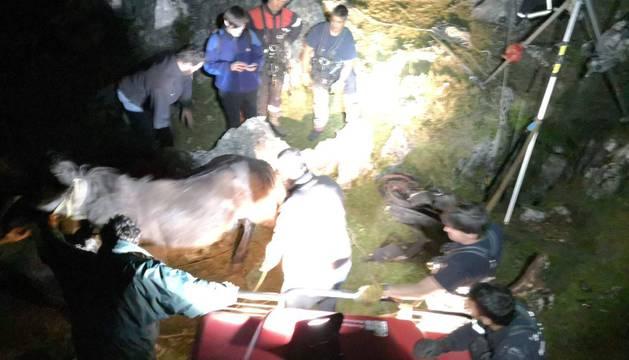 Durante el rescate de la yegua en Aralar