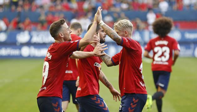 Celebración de un gol de Osasuna.