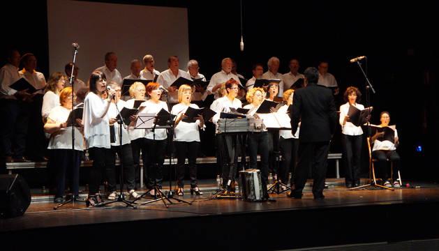 Los integrantes de la Coral Virgen del Amparo de Castejón en una de sus actuaciones.