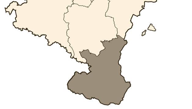 Mapa de Navarra, con la Ribera marcada en oscuro.