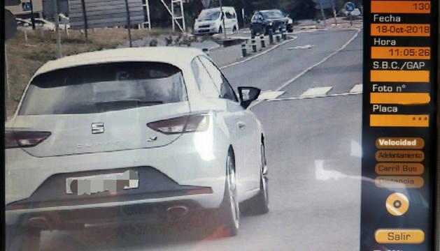 Foto del conductor a 130 km/h en Villatuerta.