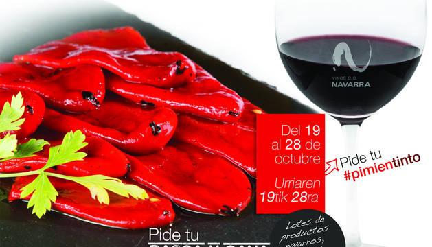 Cartel anunciador de la 'IV Semana del Pimiento de Lodosa y Tinto DO Navarra'.