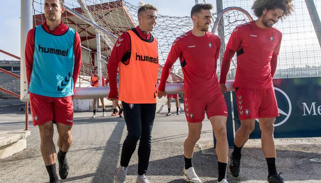 Unai García, Brandon, Barja y Aridane, durante un entrenamiento.