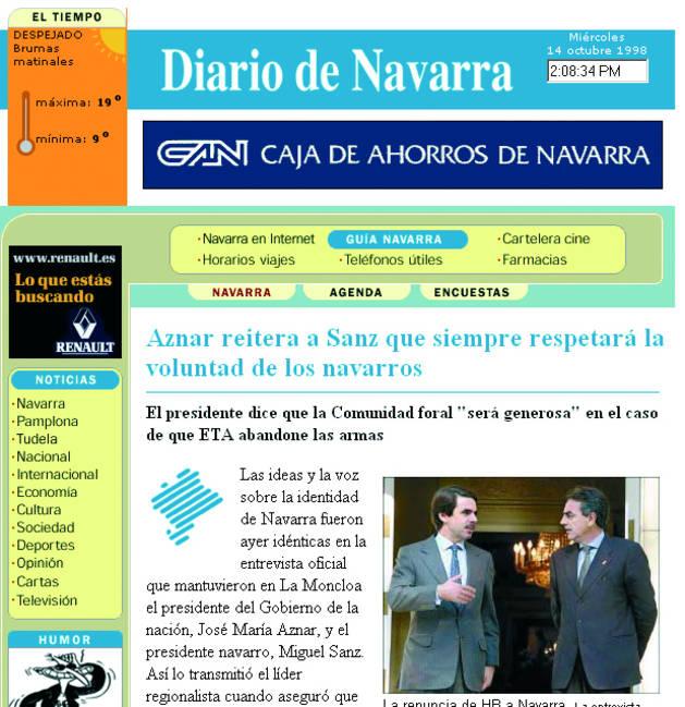 Primera edición de Diariodenavarra.es en 1998.