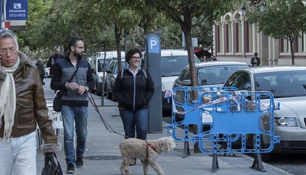 El paseo de la Inmaculada, una de las calles reguladas por la zona azul en Estella.