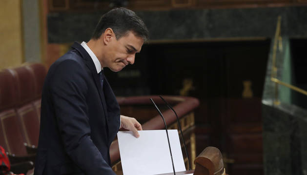 El presidente del Gobierno, Pedro Sánchez, durante su intervención ante el pleno del Congreso de los Diputados.