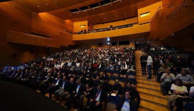 Acto de presentación de los proyectos de reforma de El Sadar, en el Museo de la Universidad de Navarra.