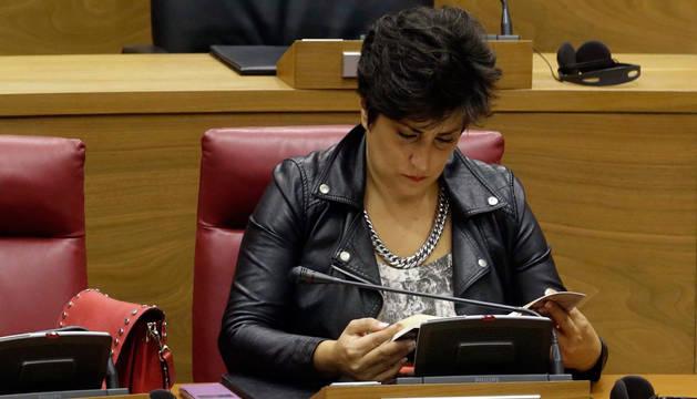 María Solana, en el Parlamento de Navarra.