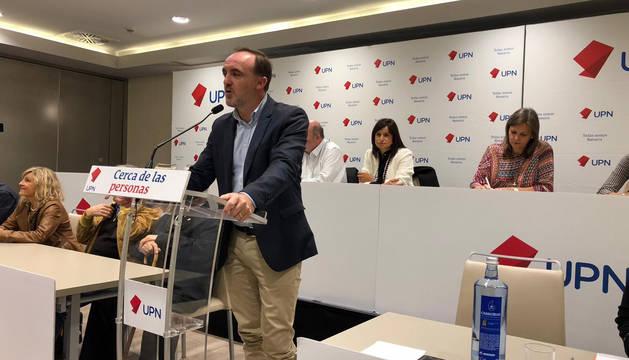 Javier Esparza, durante su intervención en el Consejo Político de UPN.