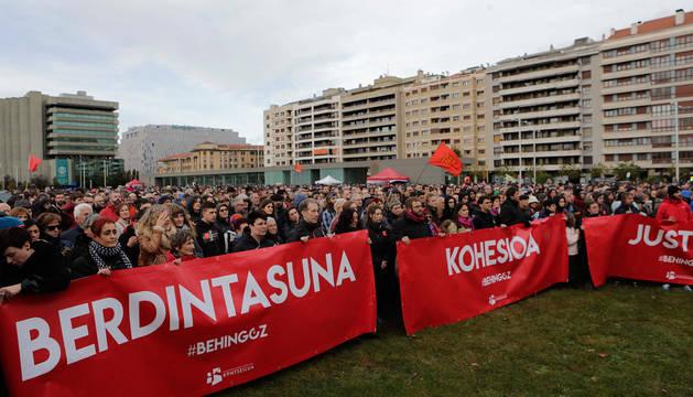 La manifestación, en la Vuelta del Castillo.